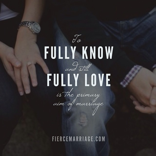 To fully know and still fully love is the primary aim of marriage -Ryan Frederick