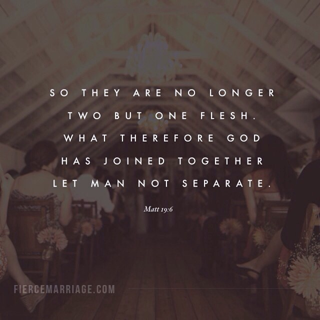 """So they are no longer two but one flesh. What therefore God has joined together let man not separate. Matt. 19:6"" -Jesus"